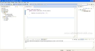Hello World dengan Java di Eclipse www.SelametHariadi.com