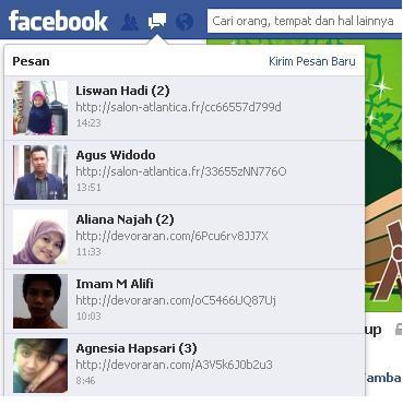 link spam di facebook (dok.pribadi)